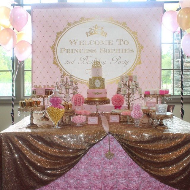 Pink And Gold Princess Baby Shower, Birthday Dessert Table