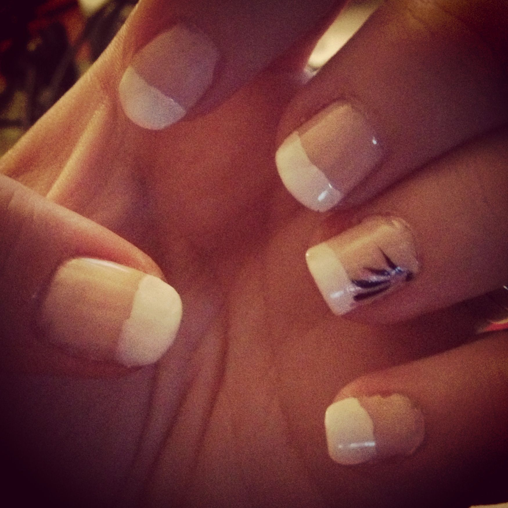 French Manicure Shallac Gel Nails With Peacock Feather And Gems Ring Finger Design Feather Nails French Nail Designs Feather Nail Art