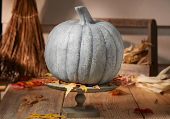 DIY Faux Concrete pumpkin for a rustic industrial look 75+ No Carve - halloween pumpkin decorations