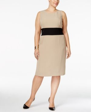 a70ac1a4a588f Kasper Plus Size Colorblocked Sheath Dress - Dresses - Women - Macy s