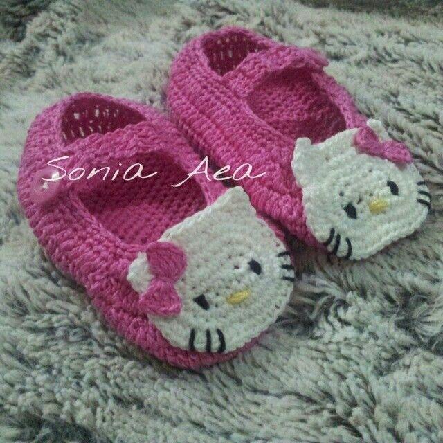 كروشيه Crochet حذاء هالو كيتي Baby Shoes Handmade Kids