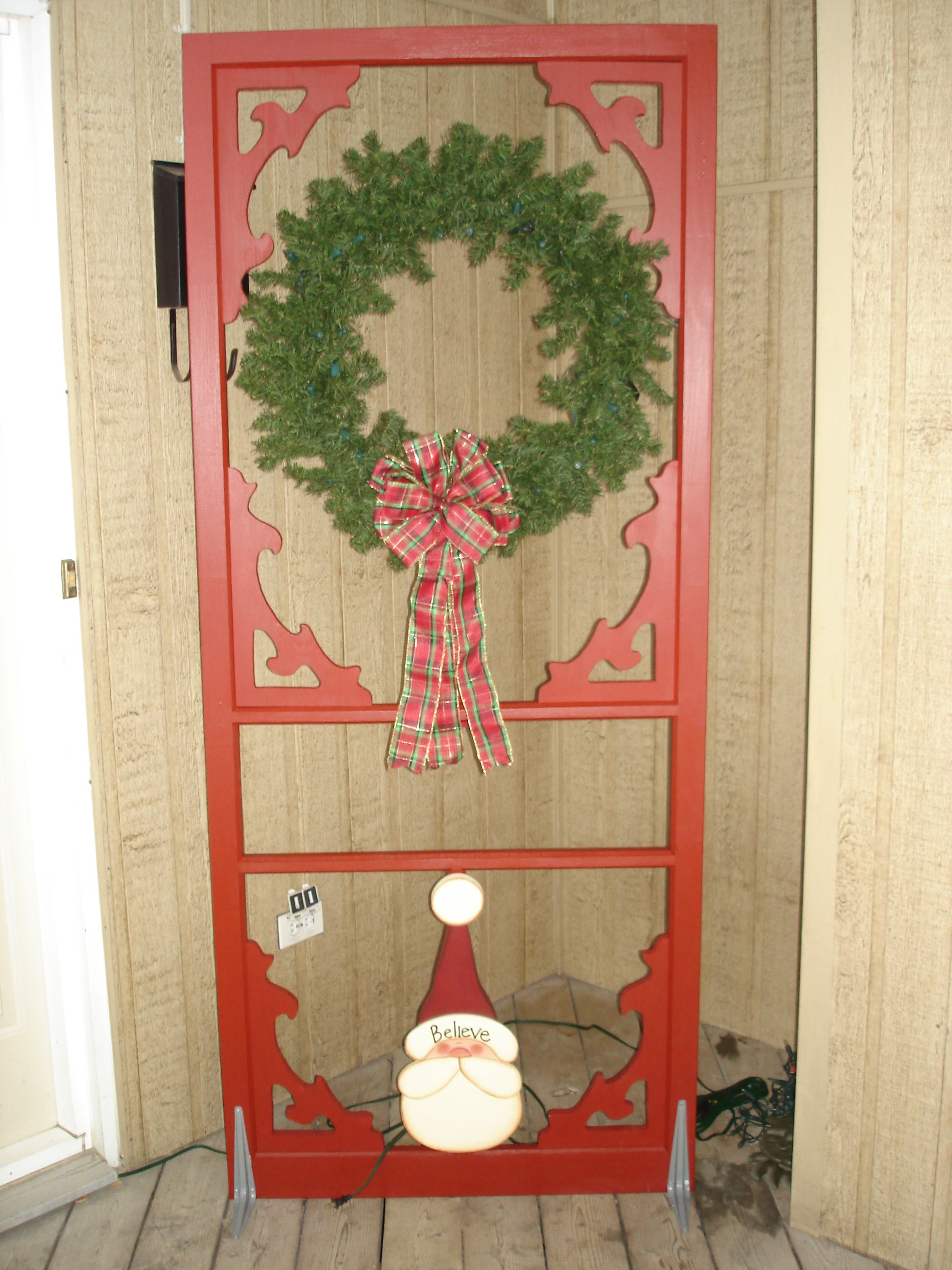 Painted Screen Door Frame New Scroll Saw Brackets With A Wreath