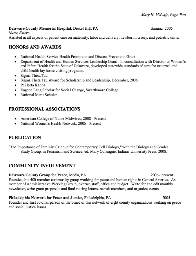 Staff Nurse Gynecology Resume