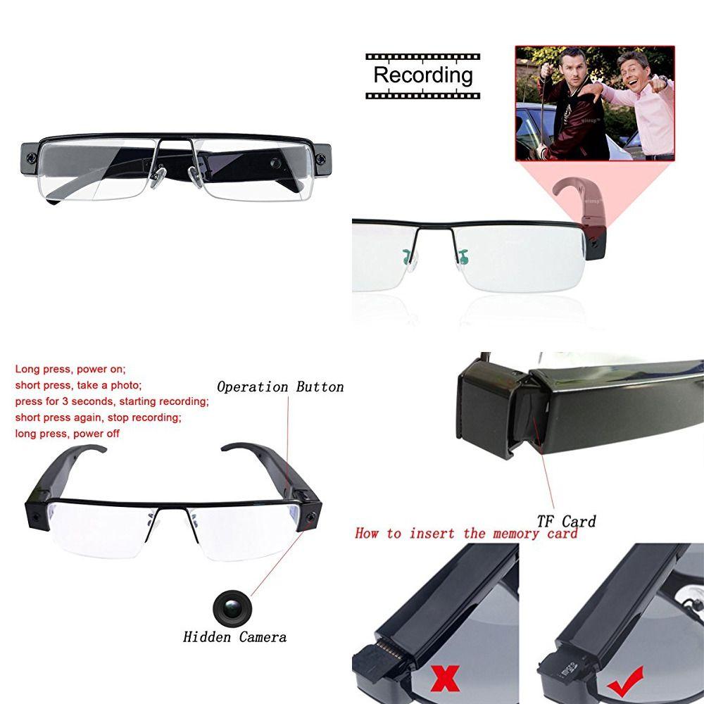 73c20ba3cf58 Spy Camera Glasses 1080P Support Up To 32GB TF Card Fashion W Video Portab  Black (eBay Link)