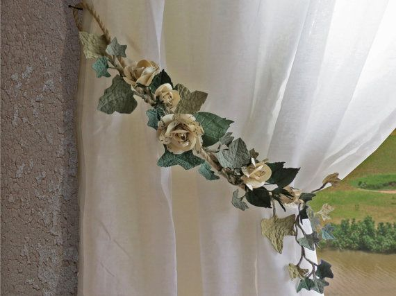 2 Curtain Tie Back Paper Rose Garland Shabby Chic Floral Curtains Hold Back Wedding Decoration Floral Curtains Curtain Tie Backs Curtain Tie Backs Diy