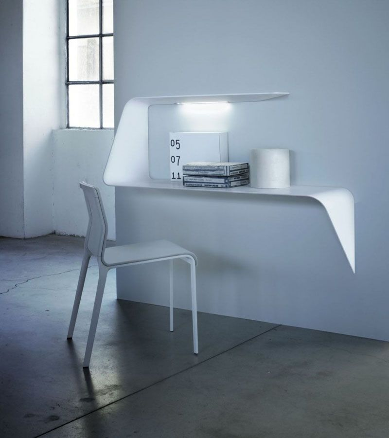 16 Wall Mounted Desk Ideas That Are Great For Small Spaces In 2020 Desk Design Floating Wall Desk Furniture