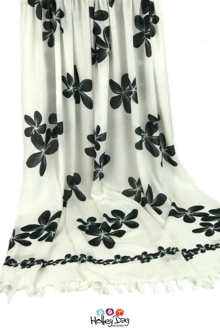 e96e35670f Large Beach Sarong | Swimsuit Cover | Black & White Frangipani Print  #holleyday #holleyday2day #sarong #pareo #largesarong #plussizesarong  #beachsarong ...