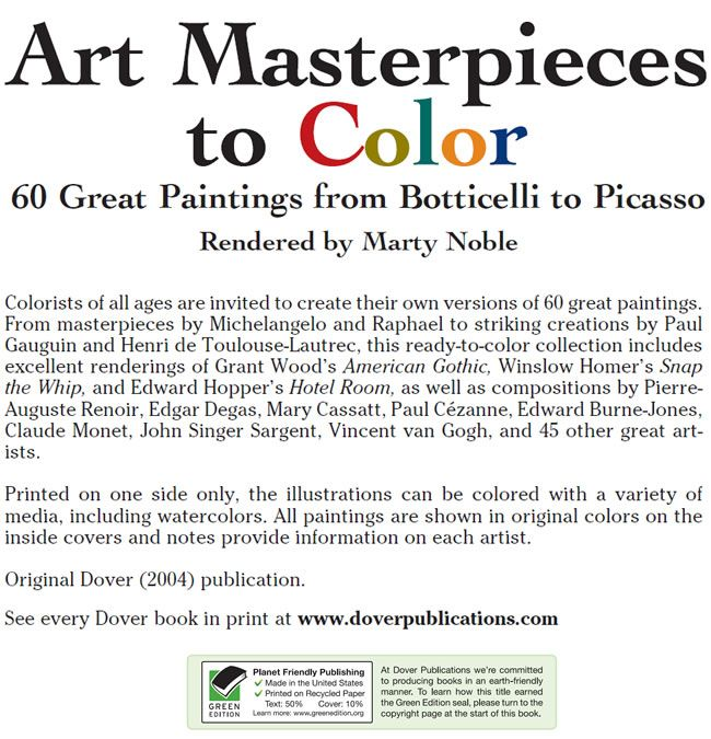Art Masterpieces to Color: 60 Great Paintings from Botticelli to ...