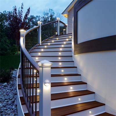 Two Story Decks With Stairs Deck Lighting In A Kit Our Favorite New Building And Deck Products Outdoor Stairs Stairway Lighting Stair Lights