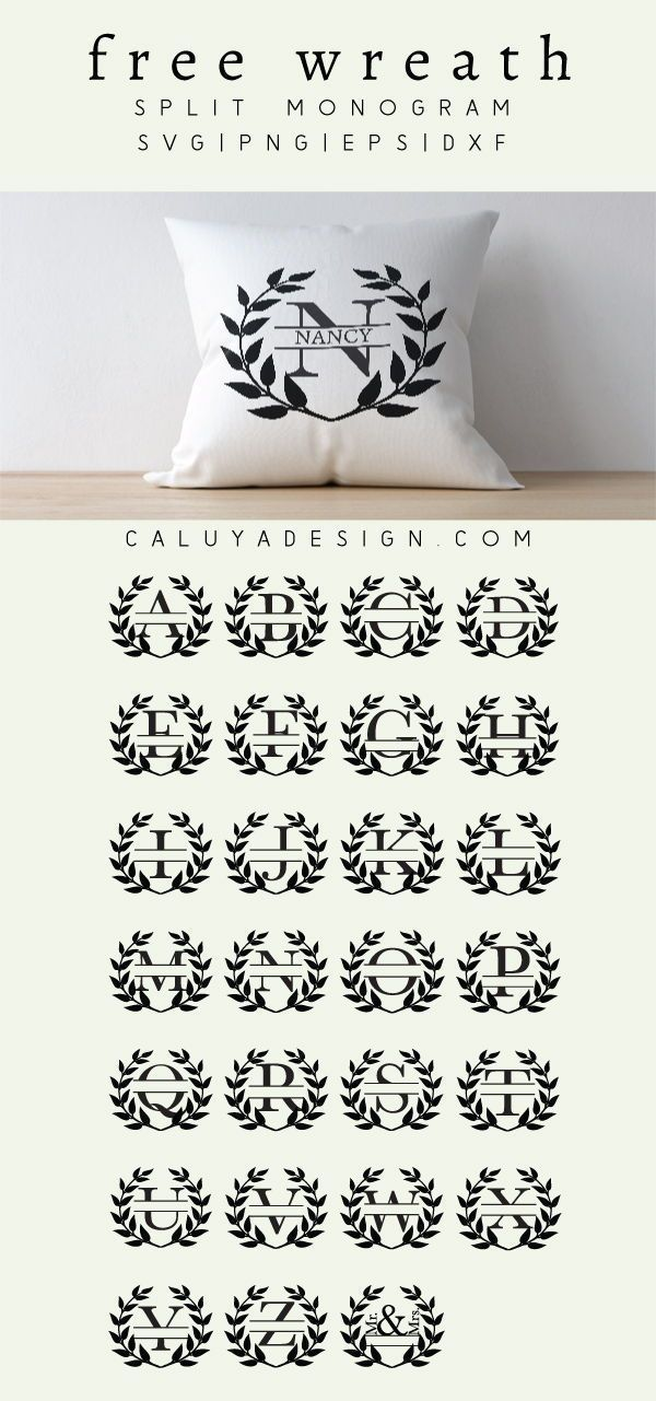 Photo of Wreath Monogram FREE SVG, PNG, EPS & DXF By Caluya Design