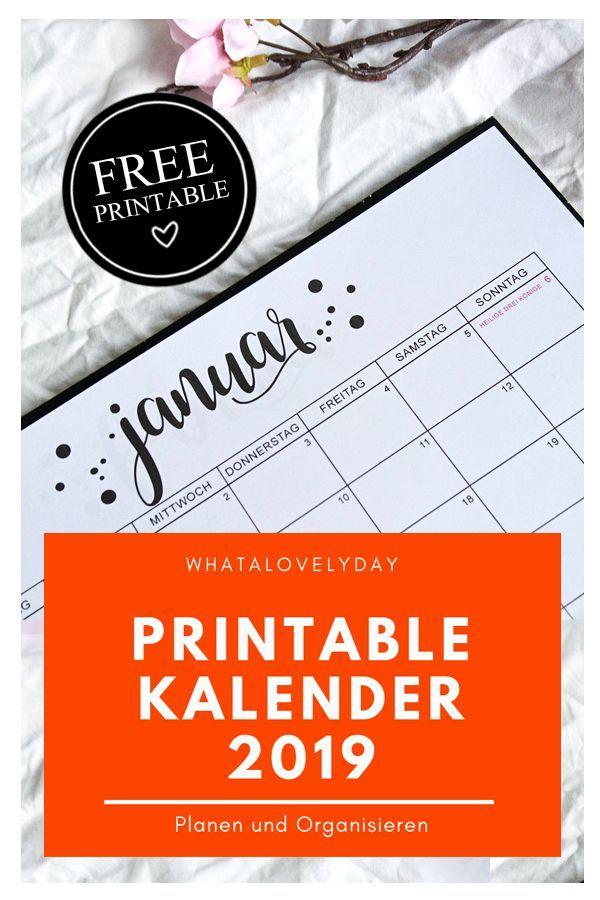 Monatskalender 2019 Freebie Zum Ausdrucken Kalender