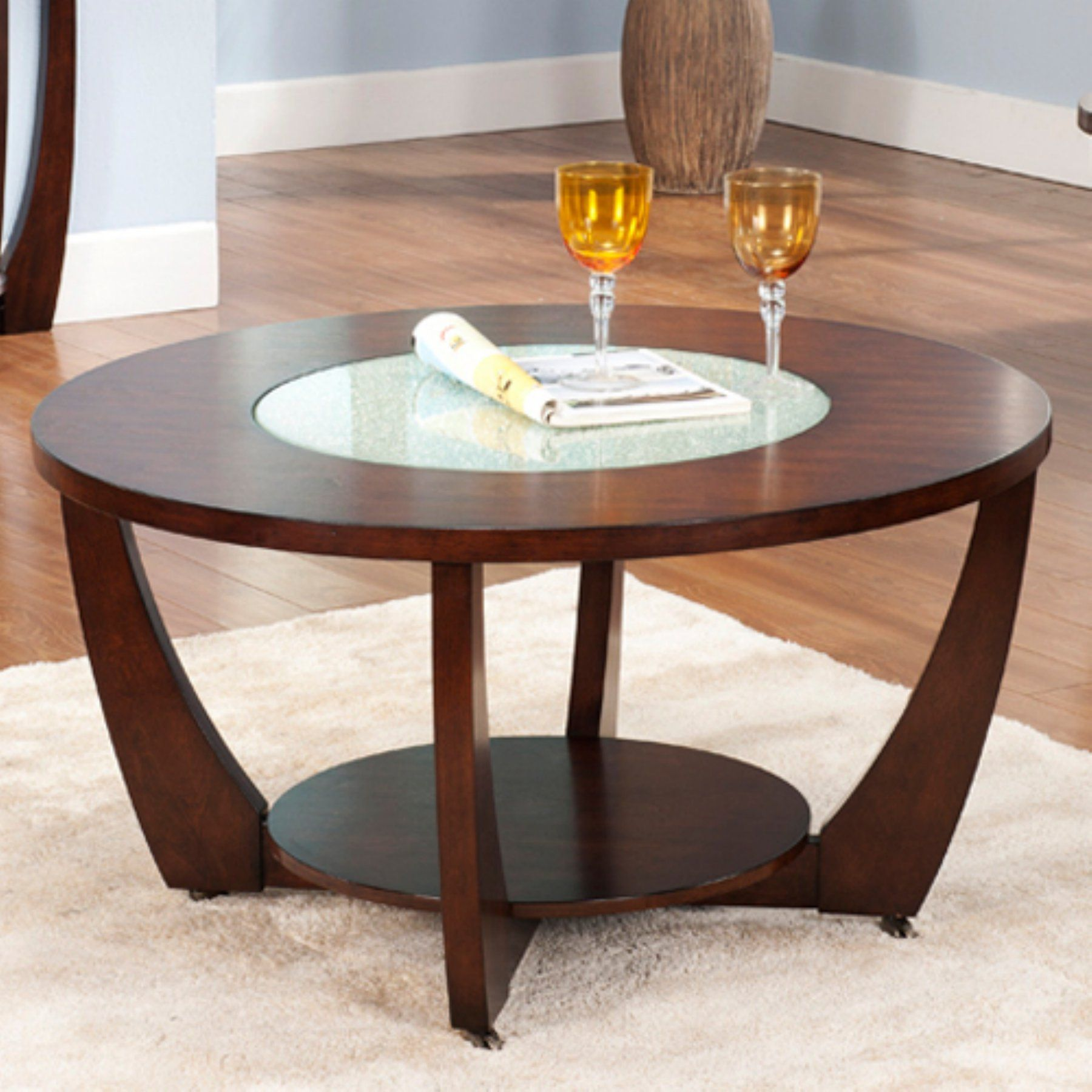- Steve Silver Rafael Round Cherry Wood And Glass Coffee Table (With