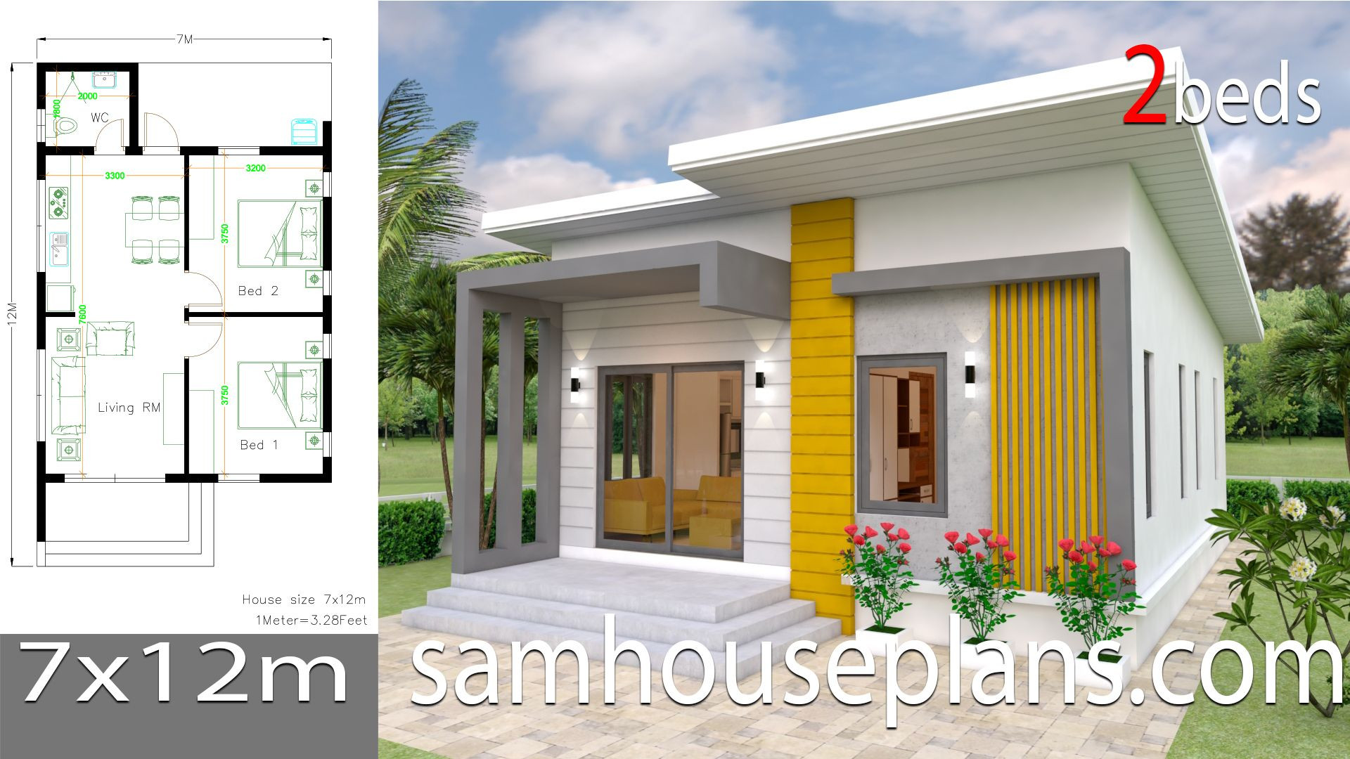 Small House Design Plans 7x12 With 2 Bedrooms Full Plans House Plans 3d Small House Design Small House Design Plans House Design