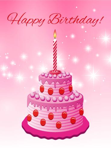 Pink Sparkle Happy Birthday Card