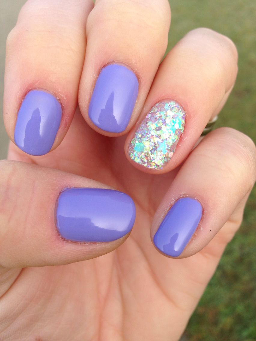 shellac nails wisteria haze and tinkerbell glitter nail art