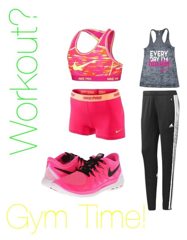 """""""A fun pink colourful gym outfit to work out in!"""" by rachealprincess123 ❤ liked on Polyvore featuring NIKE and adidas"""