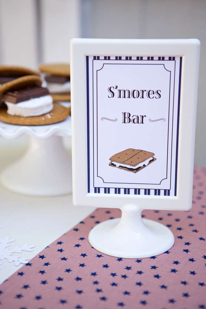 S'mores bar at a Polar Express birthday party! See more party planning ideas at CatchMyParty.com!