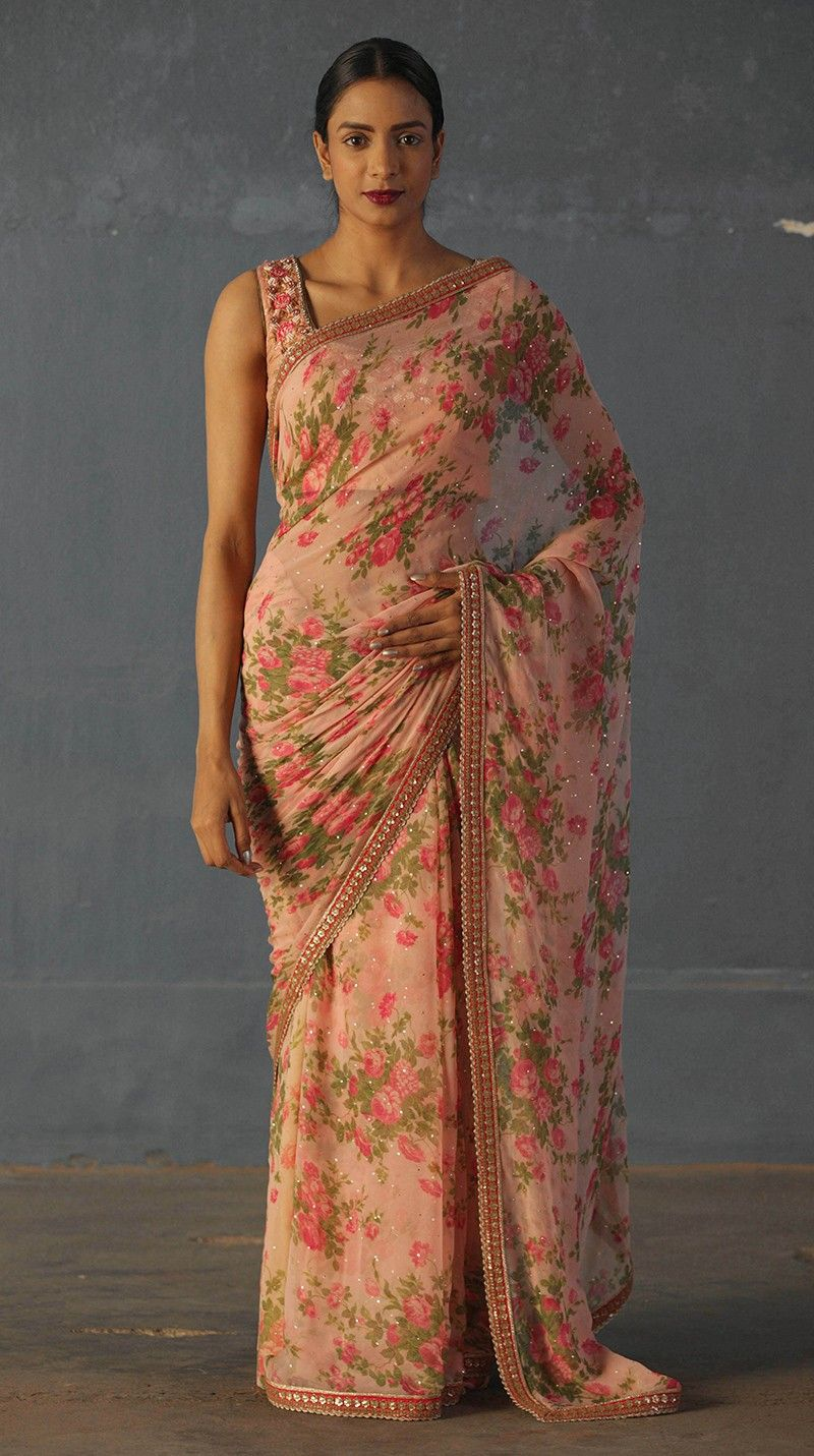 4195da1cbbb9e ... Embroidered Saree With Unstitched Blouse Online. Buy Indian Designer  Pink Floral Printed Saree Online