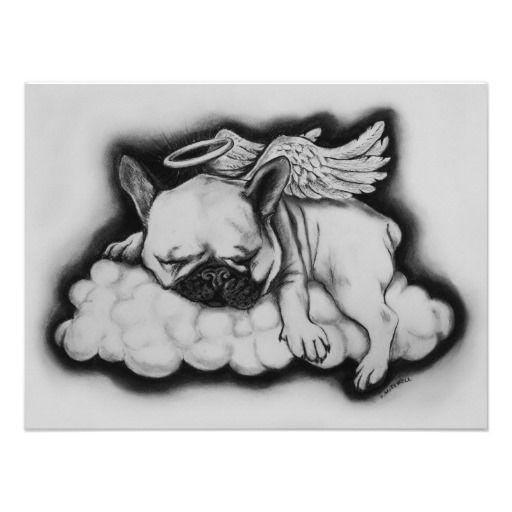 Nice French Bulldog Angel Drawing Poster Zazzle Com Pug