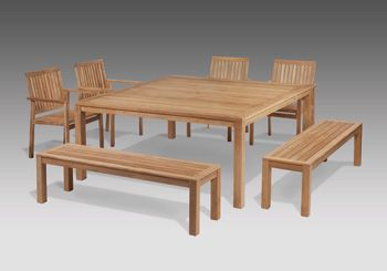 Foot Linear Teak Table With Chairs And Backless Benches By Barlow - Teak table with benches