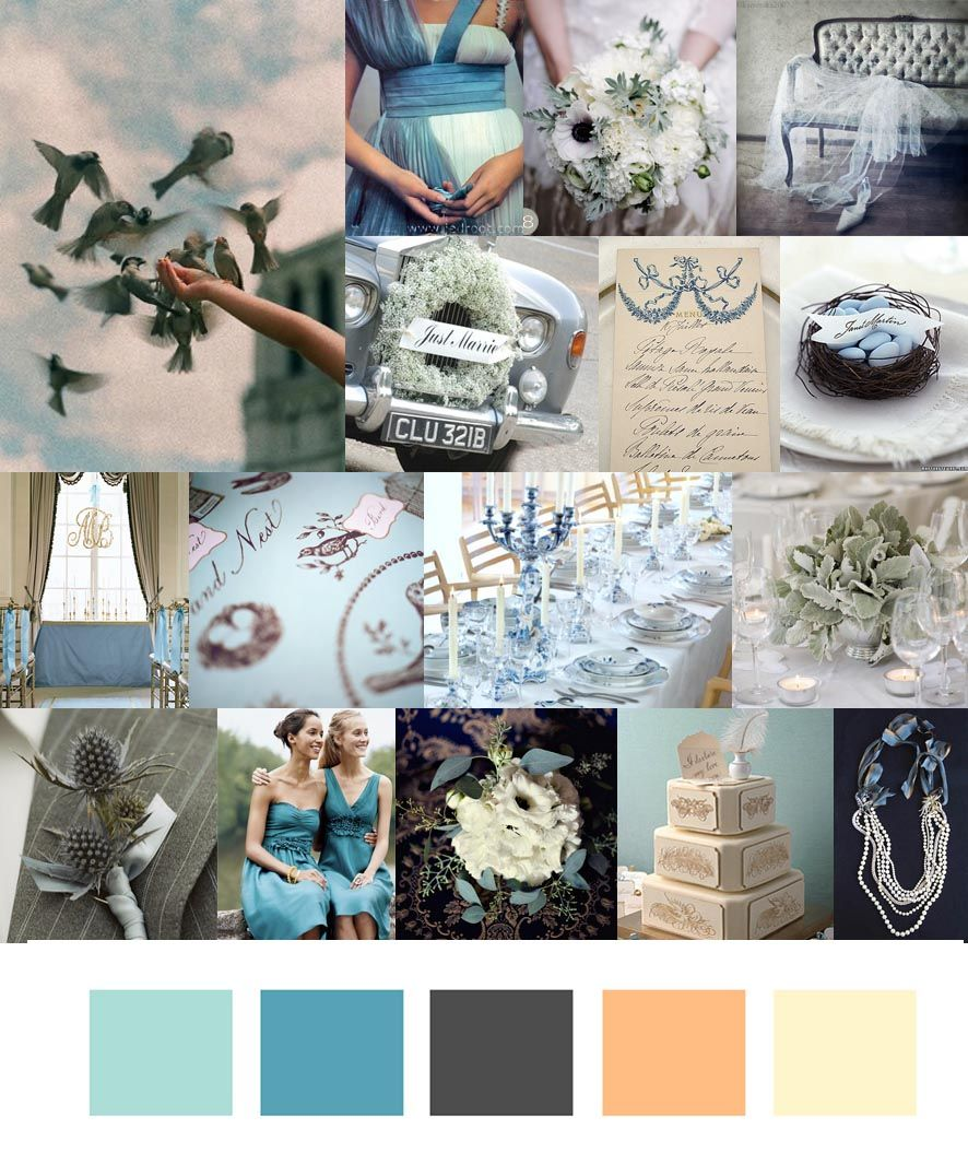 Blue With Platinum Silver Accents Wedding Grey Inspirations Boards Slategreyblue
