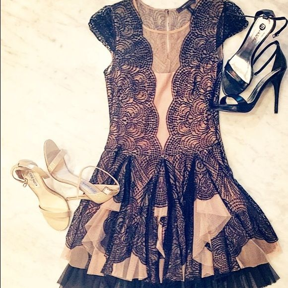 Bcbgmaxazria Rochelle Dress Black Lace And Nude My Posh Picks