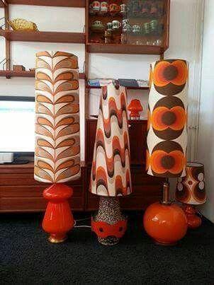 Alles Was Bruin Wit Oranje Retro Home Decor Retro Lamp 70s Home Decor