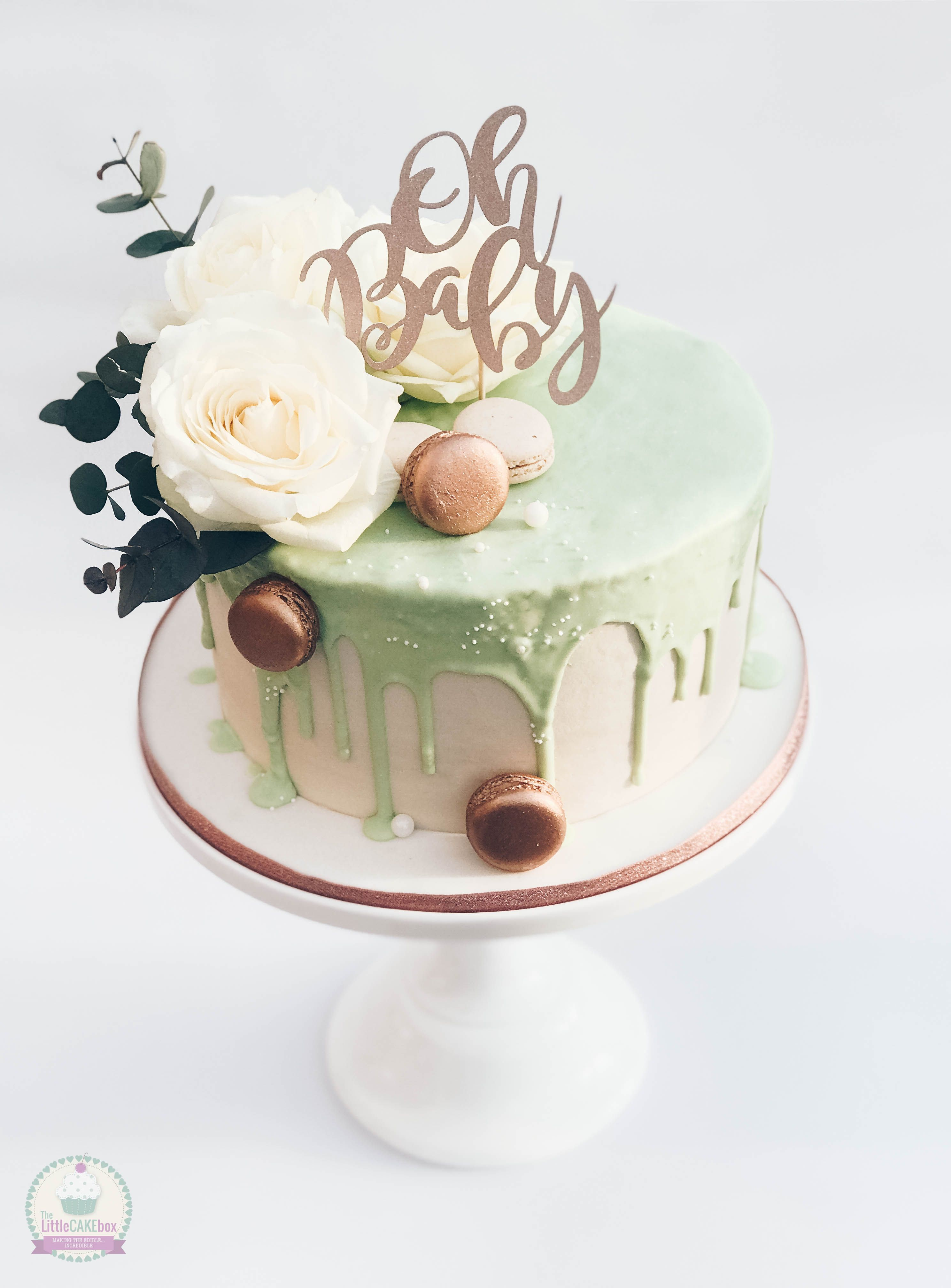 Mint Green And Rose Gold Baby Shower Drip Cake.