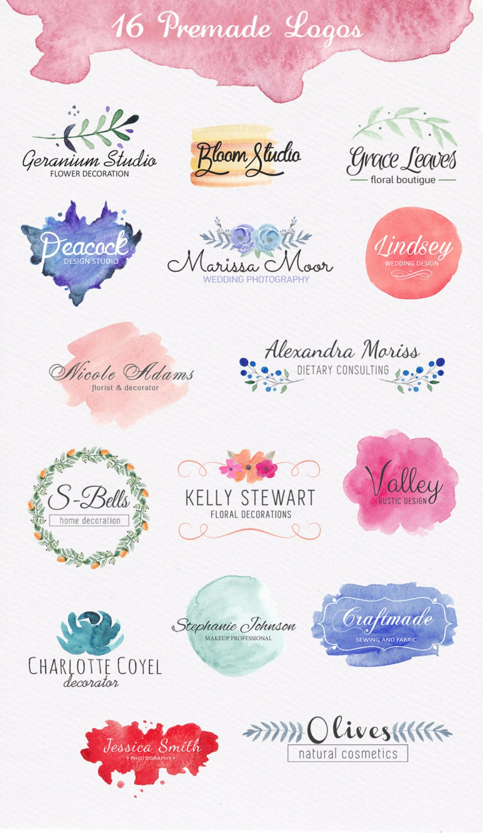 Sale Watercolor Design Kit Logo Templates Watercolor Logo Pack Wedding Design Pack Watercolor Shapes Circles Washes Brand Identity Watercolor Logo Logo Design Free Watercolor Design