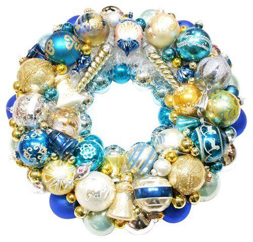 Blue Ornament Wreath - Vintage Holiday Ornaments, Decor