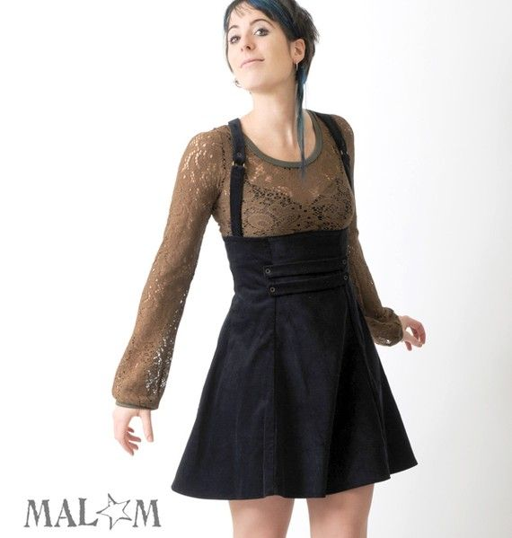 High waisted jumper skirt with suspenders  very dark blue by Malam, €170.00
