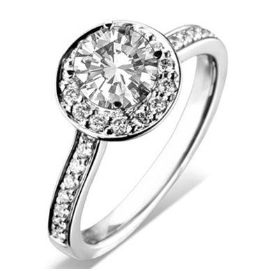 Round Diamond Single Halo Shoulder Set Ring DHDOMDSC54 Image