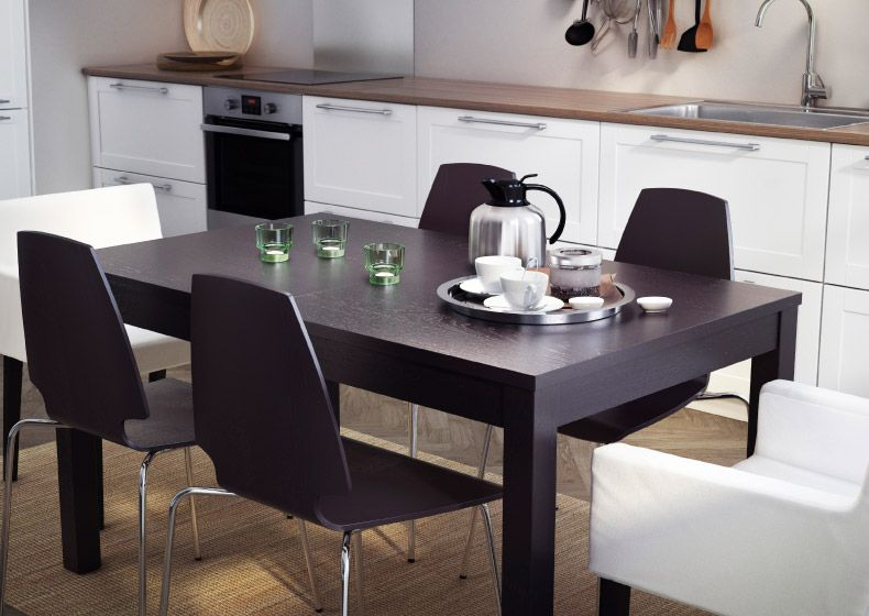 Scaune Living Ikea.Masă Si Scaune Negru Maro My Apartment Ikea Extendable Table
