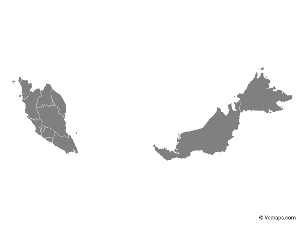 Grey Map Of Malaysia With States And Federal Territories Free Vector Maps Map Vector Vector Free Map