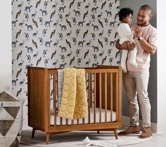 West Elm X Pbk Mid Century Mini Crib With Mattress Mini