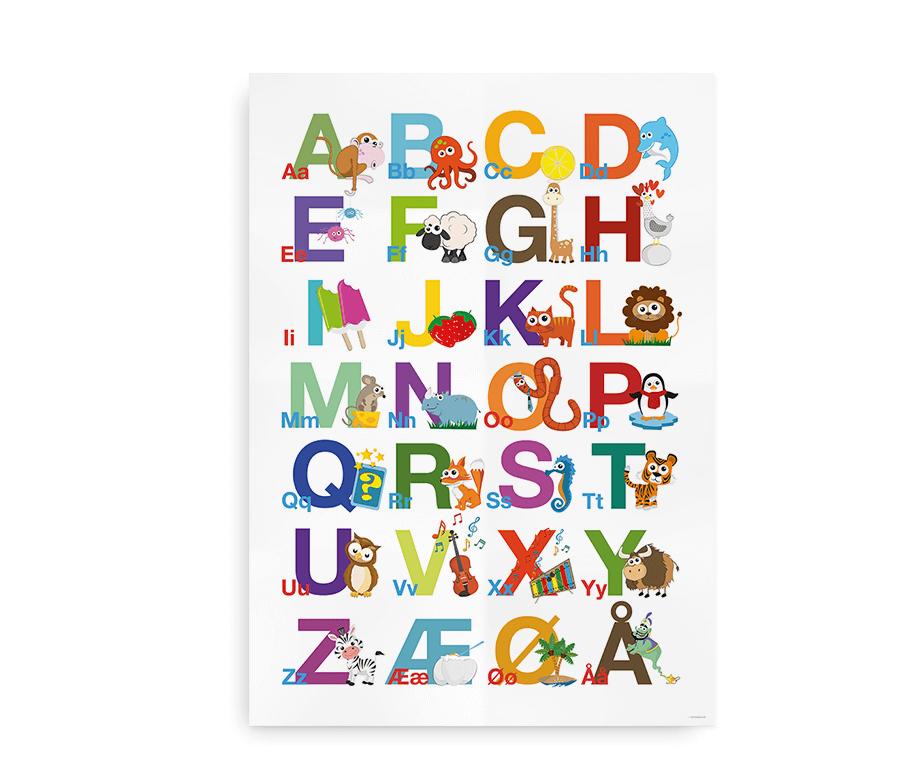 Abc Alfabetplakat Nbsp Plakat Med Farverige Illustrationer Alfabet Illustration Plakater