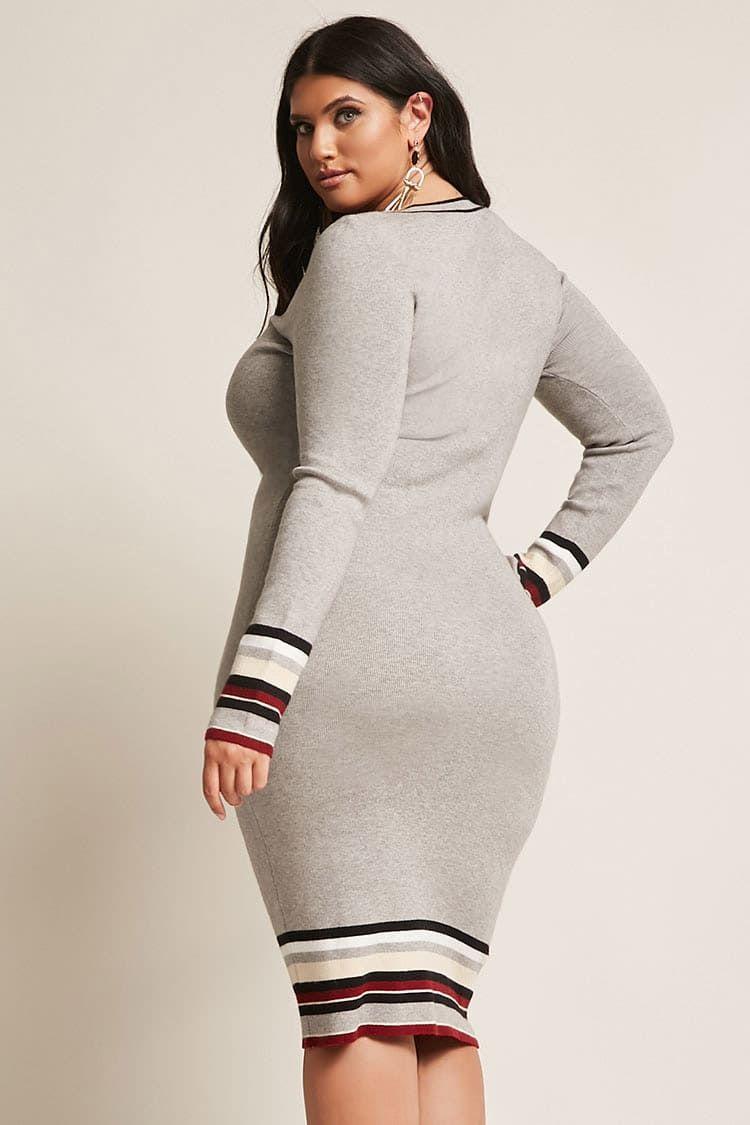 Product Nameplus Size Stripe Sweater Dress Categoryclearancezero