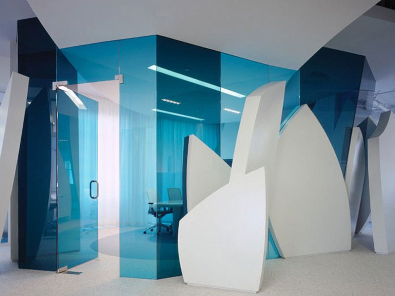Modern contemporary white office in surf inspired interior design
