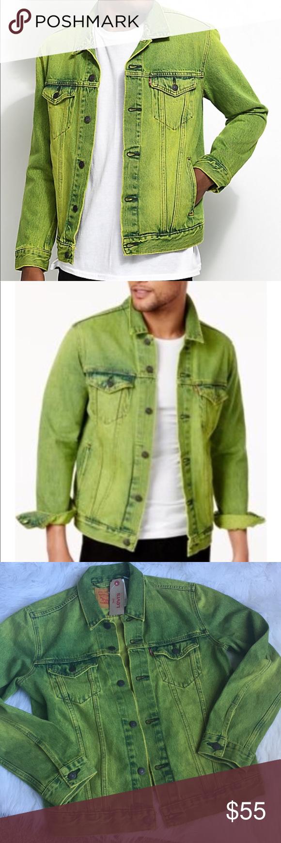 Men S Neon Green Jean Jacket Green Jean Jacket Green Denim Jacket Denim Jacket Men [ 1740 x 580 Pixel ]