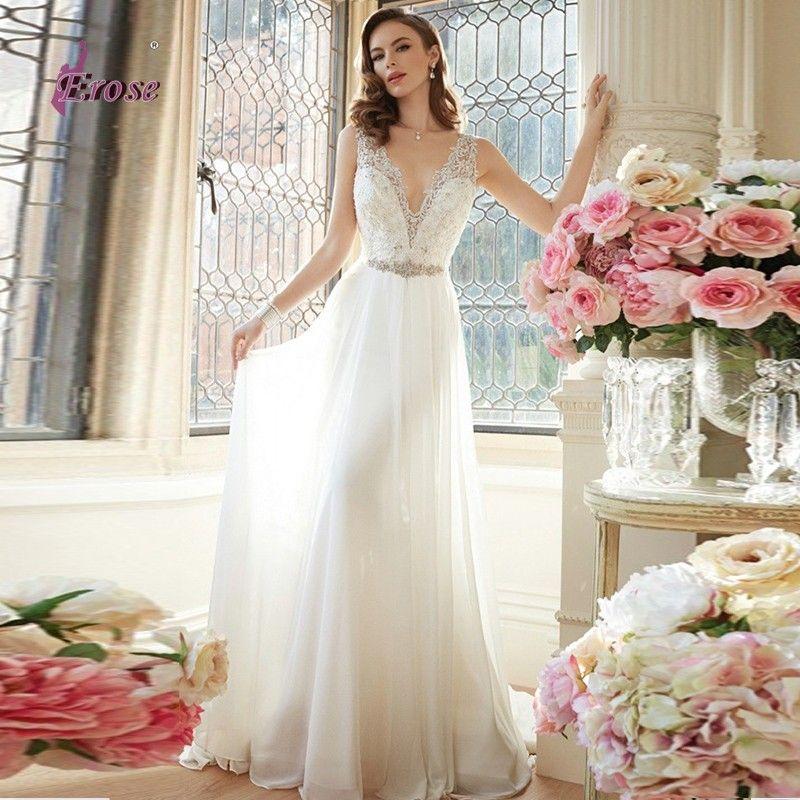 Wunderschönes, günstiges Brautkleid von Vestido De Novia mit tiefem V-Ausschnitt. Aktuelle Mode 2016 mit Perlen, Chiffon, und Spitze.
