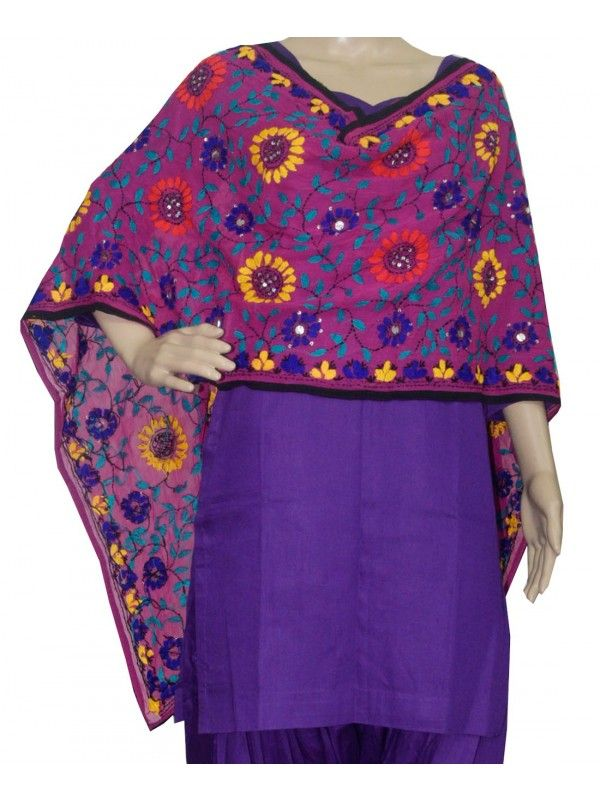 Super Georgette Stole Handembroidery SuperGeorgette Stole with Traditional Embroidery Work  Stole Length 2.25 Meter, Width 0.5 Meter  Wash Care Dry Clean Shop Now : http://www.jankiphulkari.com/purple-super-georgette-stole-jsgs1220