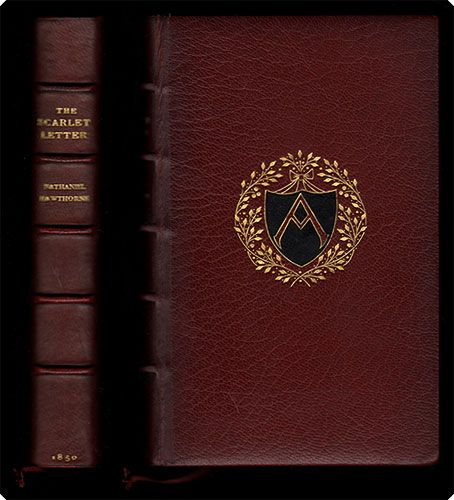 the scarlet letter. first edition. binding: full red crushed