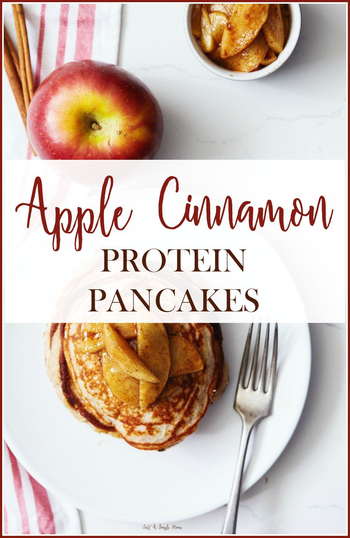 Apple Cinnamon Protein Pancakes are so yummy! Trying to eat clean but don't want to feel deprived? Try this for breakfast! Gluten free, clean eating protein packed pancakes for breakfast. The whole family will enjoy!