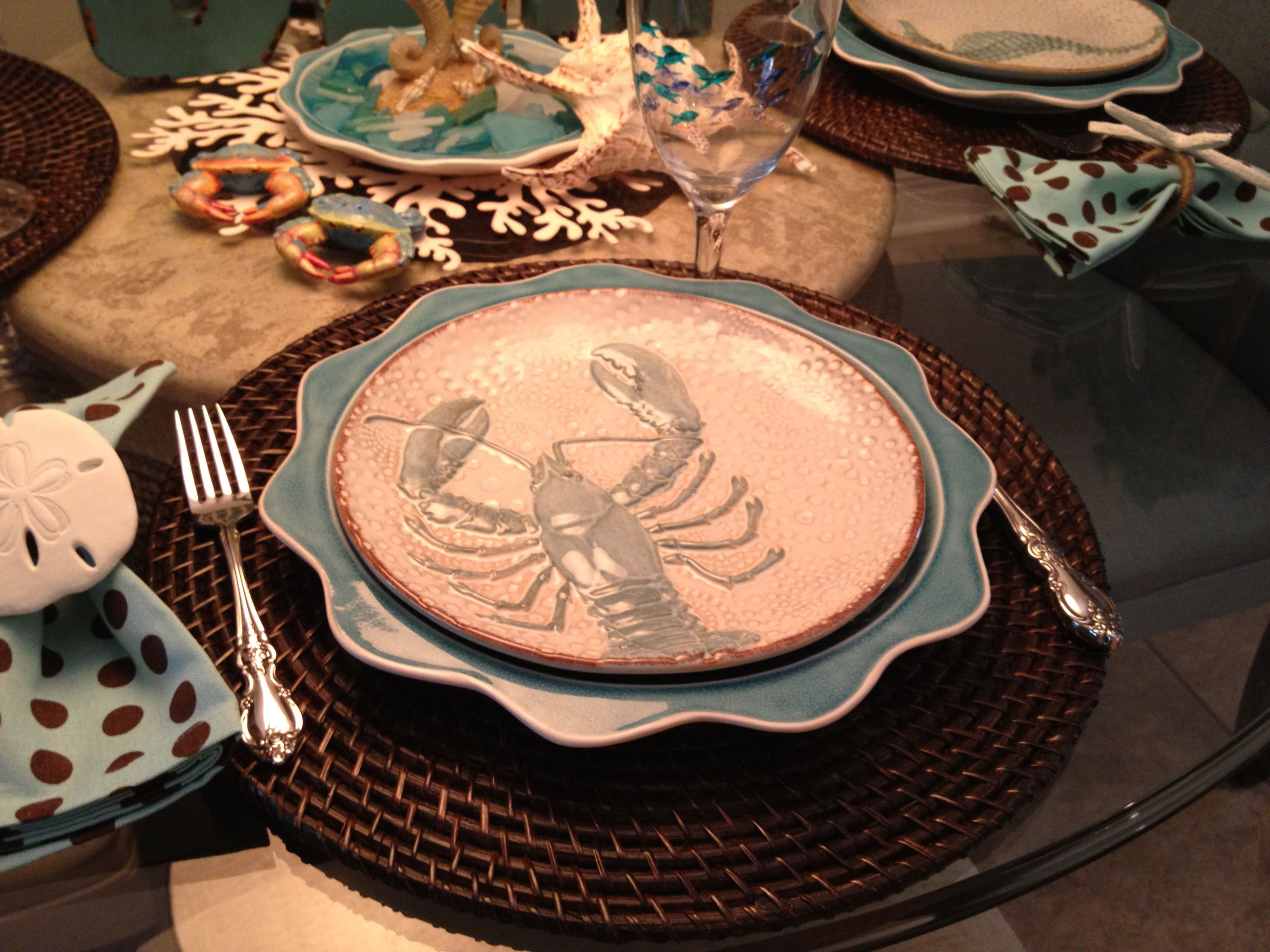 The Sea tablescape - Pier One dinner plates and Cracker Barrel salad plates & The Sea tablescape - Pier One dinner plates and Cracker Barrel salad ...