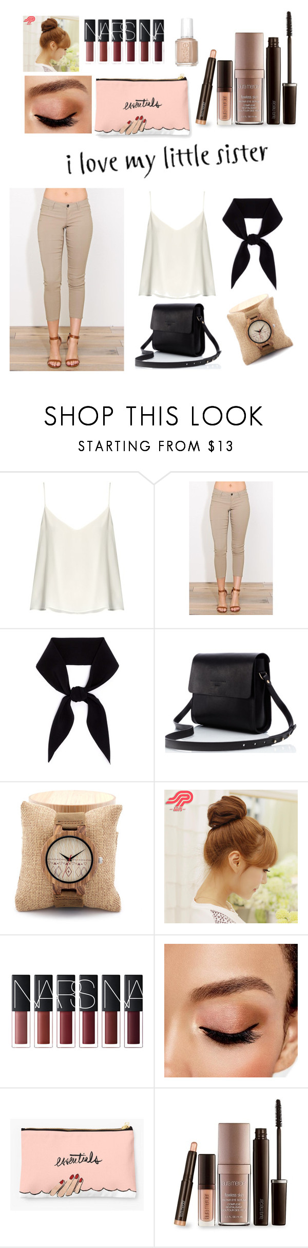 """""""for my lil sister"""" by novaerlyta ❤ liked on Polyvore featuring Raey, Chloé, Pin Show, Avon, Laura Mercier and Essie"""