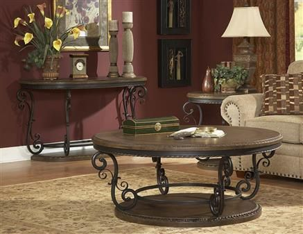 Harman Heights Traditional Warm Brown Wood Metal Coffee Table Set