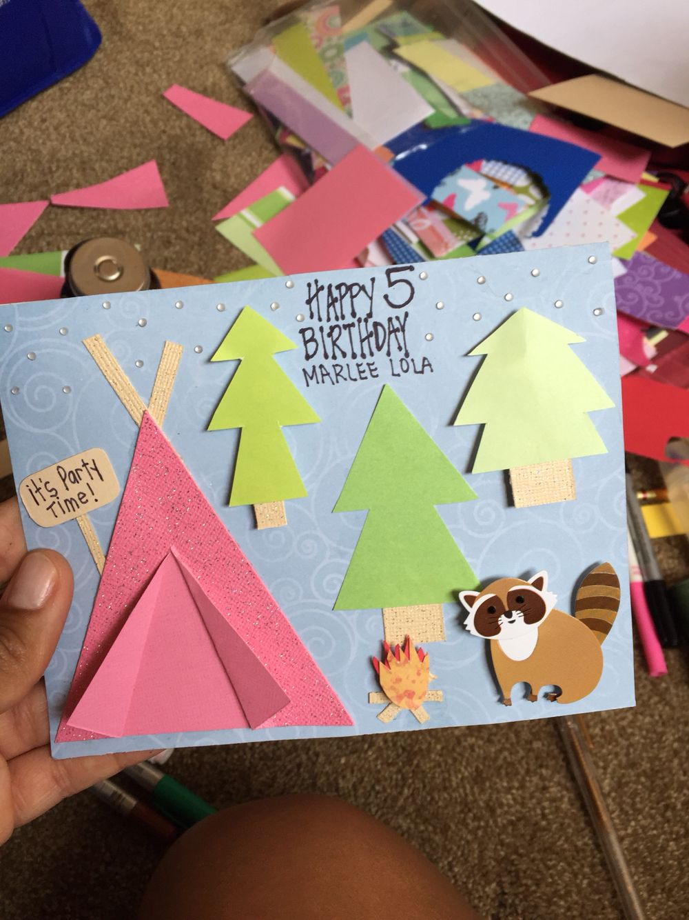 Happy glamping a birthday card for a year old who had a glamping