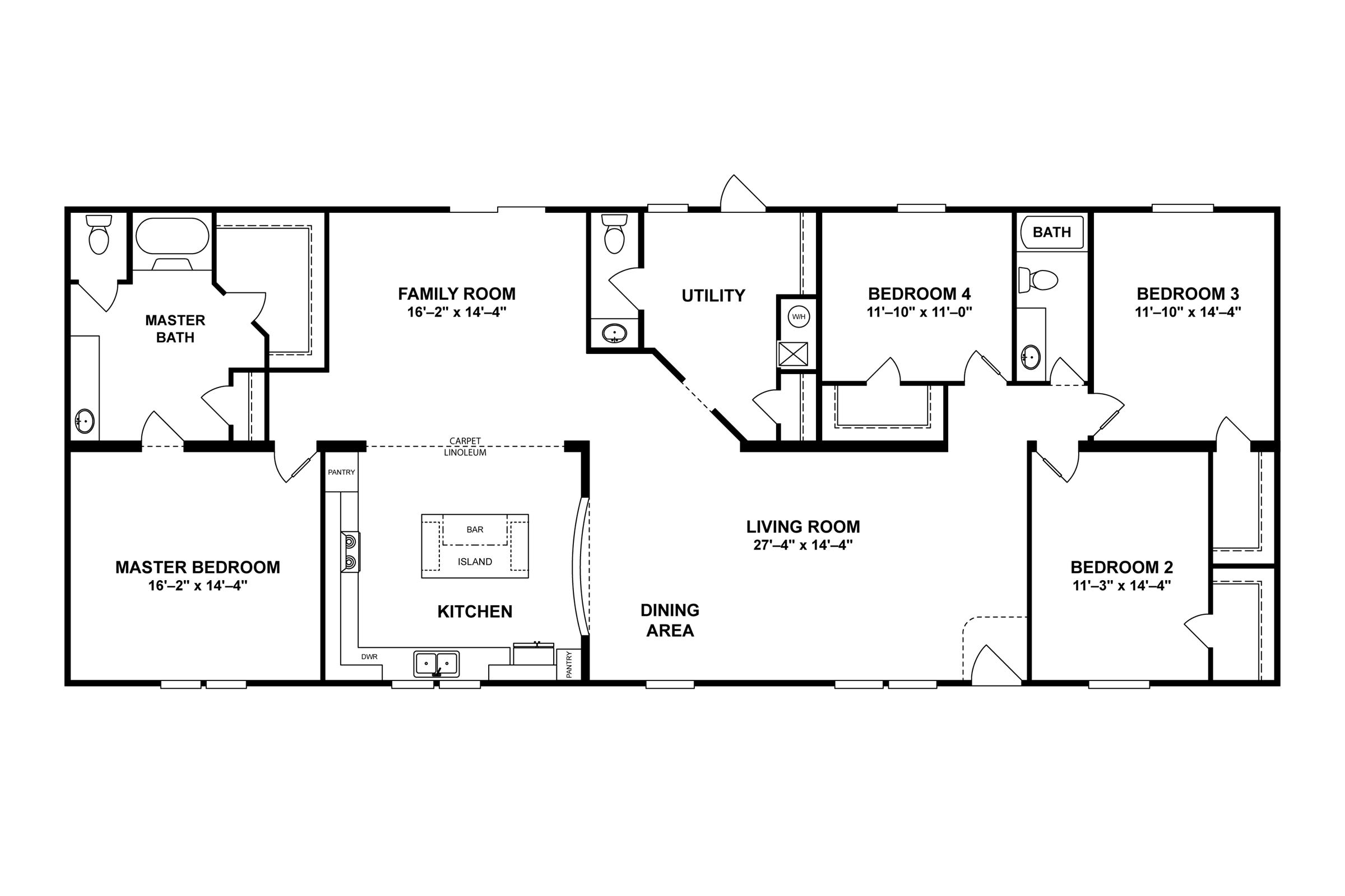 Manufactured Mobile Home Palmetto 6101 32x76 76cbg32764ah Floor Plan Modular Home Plans Mobile Home Floor Plans Floor Plans