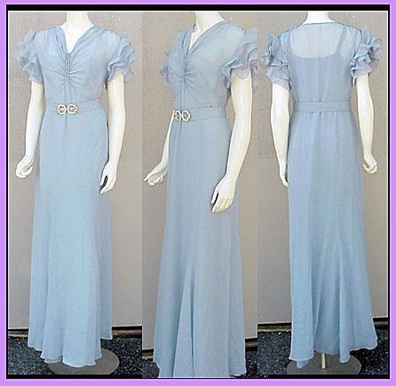 Mid 1930s dress with ruffled sleeves and bias skirt | Late 1930s ...