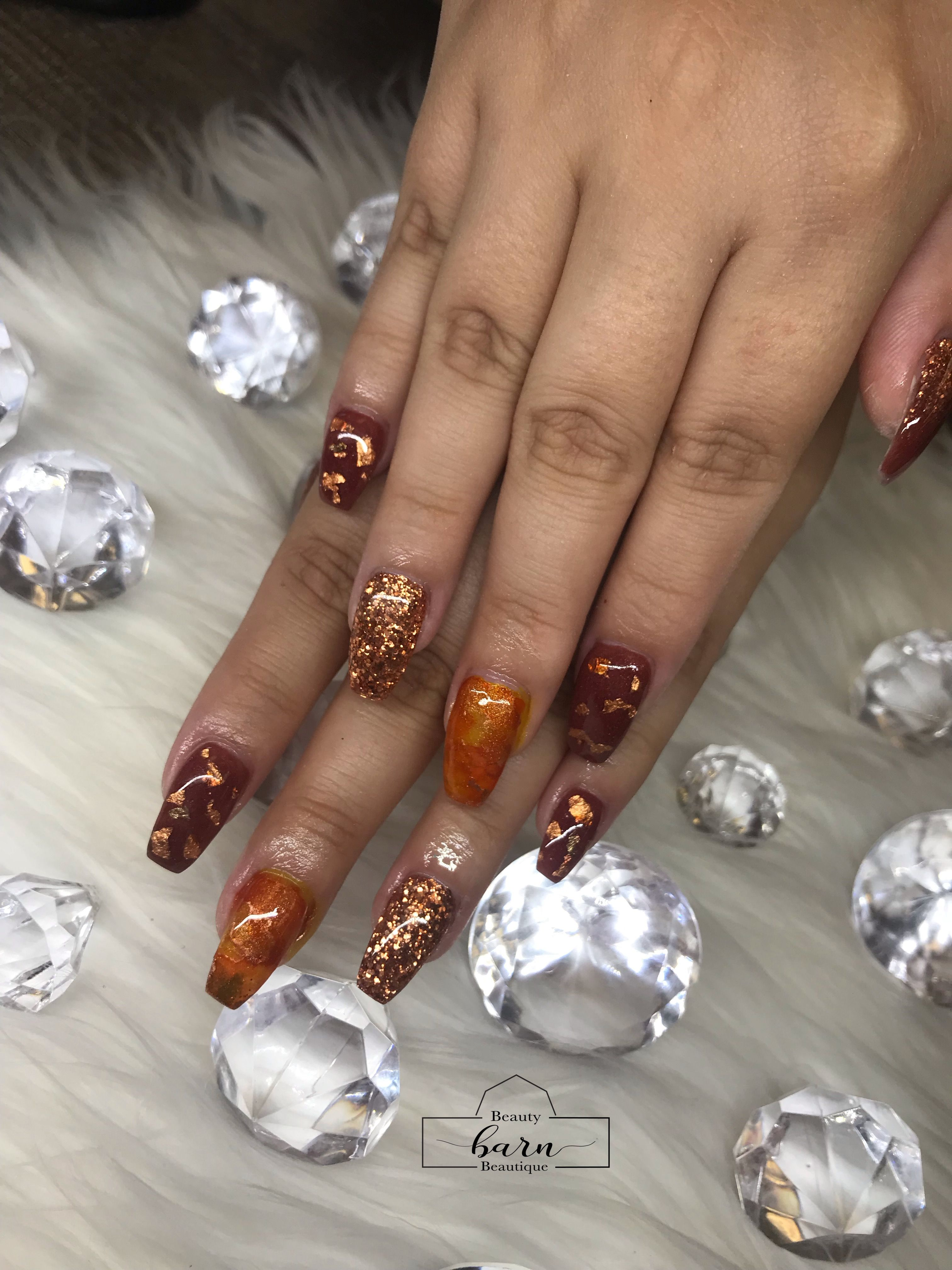 Red Copper Marble Design Acrylic Nails Copper And Marble Acrylic Nails All Things Beauty